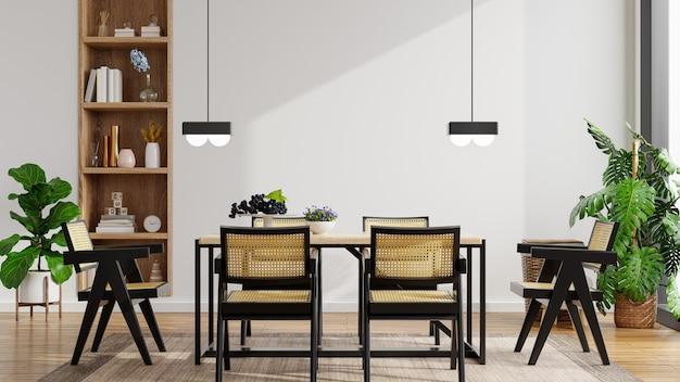 Diseño de interiores de cocina de estilo moderno con pared blanca