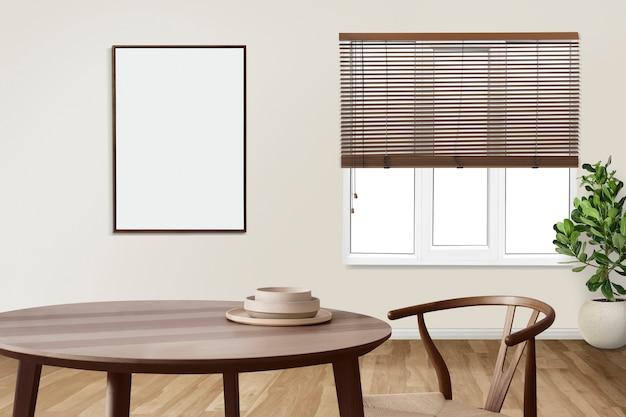Diseño de interiores de comedor auténtico japandi con marco de imagen en blanco