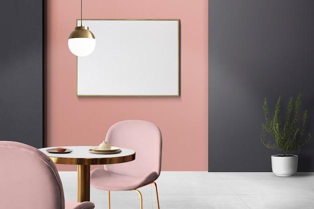 Diseño de interiores de comedor auténtico de lujo elegante con marco de imagen en blanco