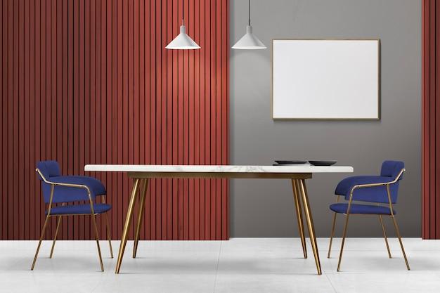 Diseño de interiores de comedor auténtico de lujo moderno con un marco de imagen en blanco