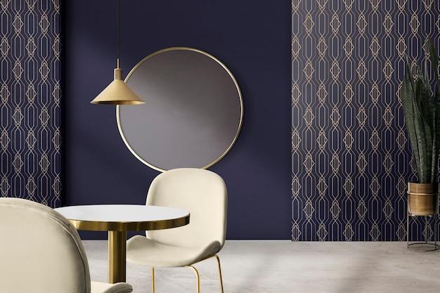 Diseño de interiores de comedor auténtico de lujo moderno con marco de imagen