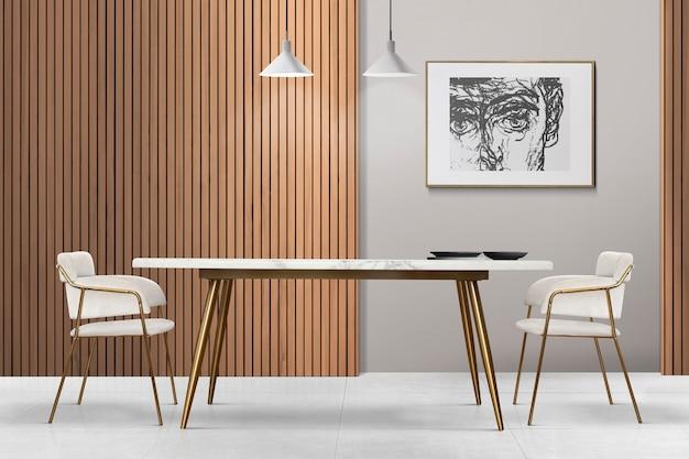 Diseño de interiores de comedor auténtico de lujo moderno