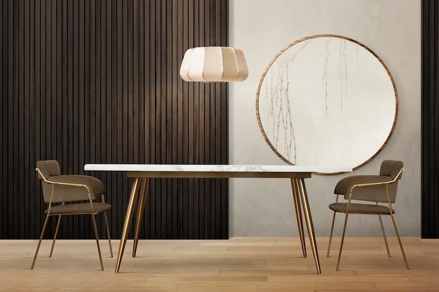 Diseño de interiores de comedor auténtico de lujo
