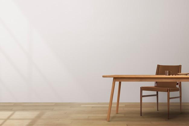 Diseño de interiores de comedor japandi con mesa de madera
