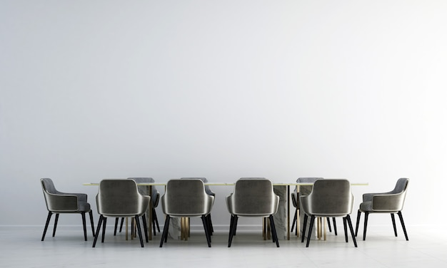 Diseño de interiores de comedor moderno y fondo de pared de textura blanca