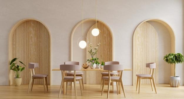 Diseño de interiores de comedor moderno con pared blanca. representación 3d