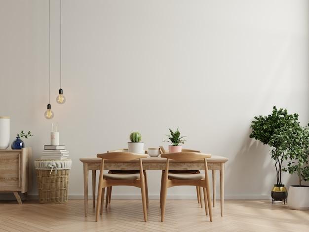 Diseño de interiores de comedor moderno con paredes vacías beige