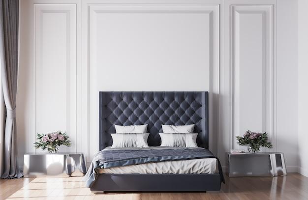 Diseño de interiores de dormitorio con modernas mesas laterales plateadas