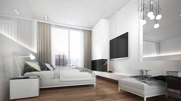Diseño de interiores de dormitorio moderno y acogedor.