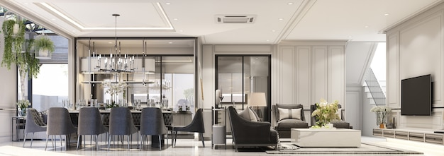 Diseño de interiores estilo clásico moderno de sala de estar y comedor con mármol negro y textura de acero negro y muebles grises panorama interior de renderizado 3d incorporado