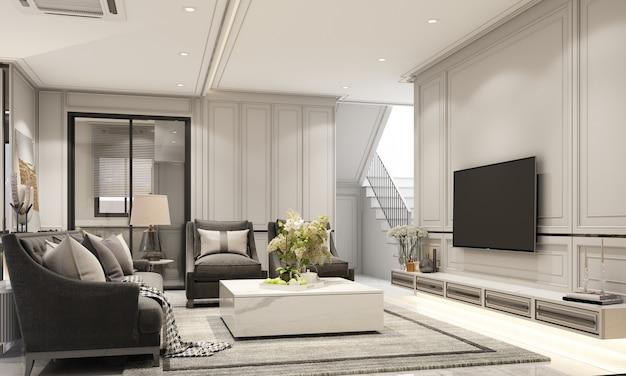 Diseño de interiores de estilo clásico moderno de sala de estar y comedor con mármol negro y textura de acero negro y muebles grises con representación 3d incorporada