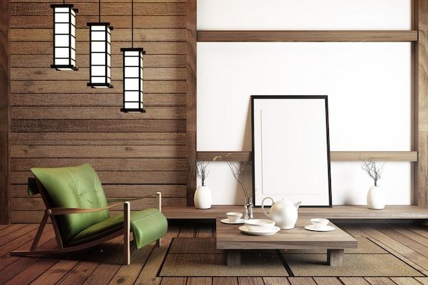 Diseño de interiores de estilo japonés. representación 3d