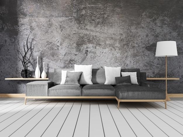 Diseño de interiores estilo loft. renderizado 3d