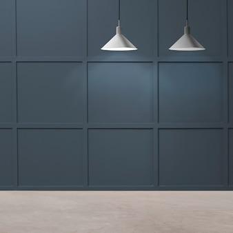 Diseño de interiores de habitación de lujo moderno vacío con lámparas de techo