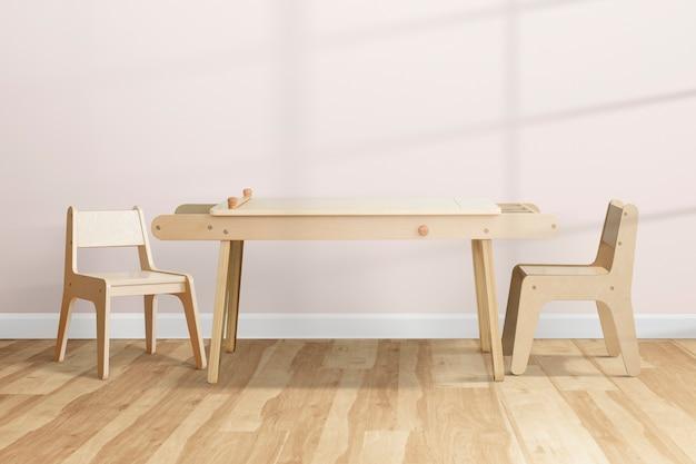 Diseño de interiores de habitación de niños lindo con mesa de madera