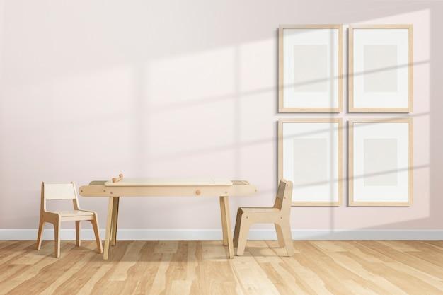 Diseño de interiores de habitación de niños lindo con pared de galería en blanco