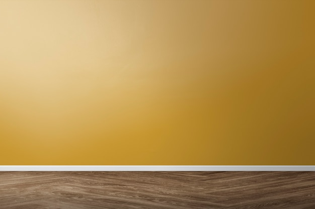 Diseño de interiores de habitación retro vacía con pared amarilla