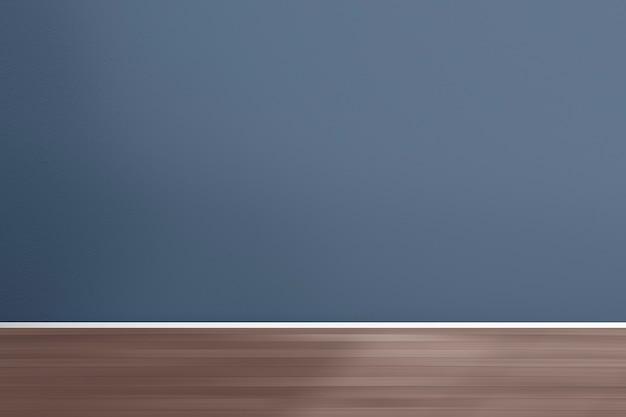 Diseño de interiores de habitación retro vacía con pared azul