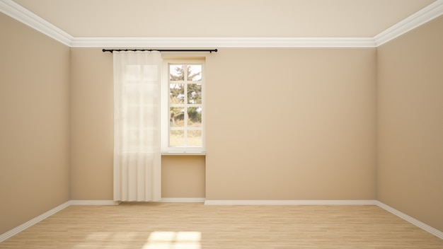 Diseño de interiores de habitación vacía y sala de estar de estilo moderno con ventana y piso de madera.