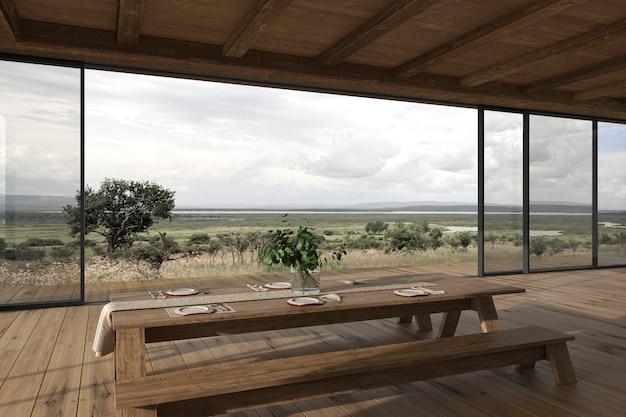 Diseño de interiores moderno terraza al aire libre mesa de comedor y vista de la naturaleza ilustración de render 3d