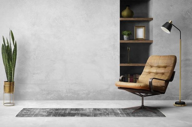 Diseño de interiores de oficina en casa tipo loft
