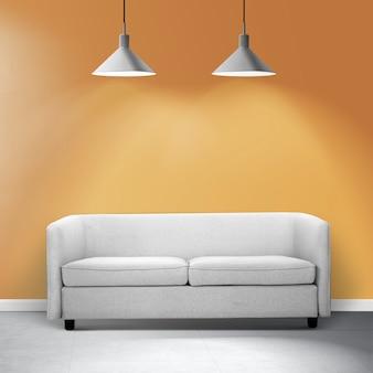 Diseño de interiores de sala de estar contemporánea con un sofá blanco
