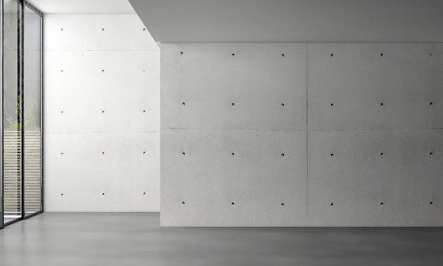 Diseño de interiores de sala de estar loft moderno y fondo de muro de hormigón vacío