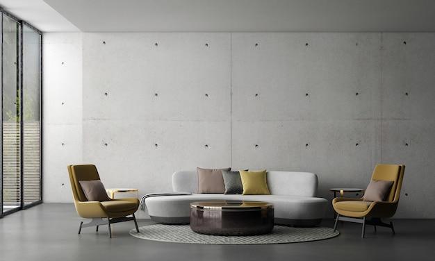 Diseño de interiores de sala de estar loft moderno y fondo de muro de hormigón