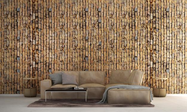 Diseño de interiores de sala de estar loft moderno y fondo de textura de pared de ladrillo