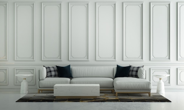 Diseño de interiores de sala de estar de lujo moderno y fondo de pared blanca vacía