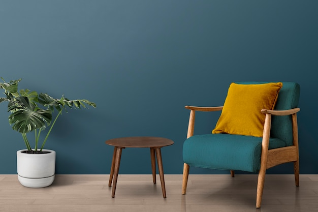 Diseño de interiores de sala de estar moderna de mediados de siglo con árbol monstera