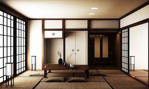 Diseño de interiores, sala de estar moderna con mesa en tatami, piso, estilo japonés.
