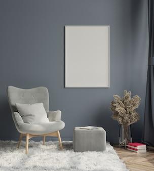 Diseño de interiores de sala de estar moderna con sillón y pared oscura vacía representación 3d