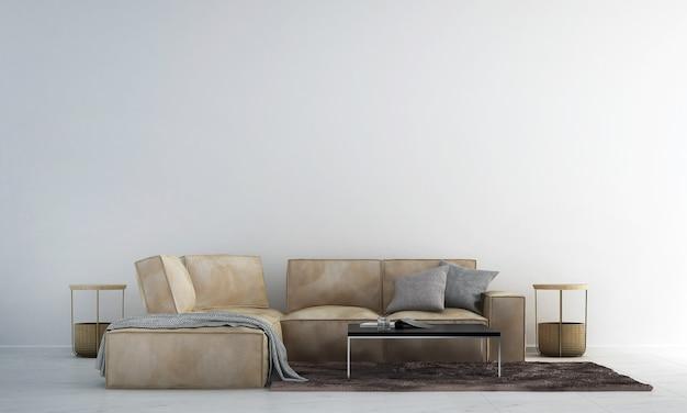 Diseño de interiores de sala de estar moderna y sofá de cuero marrón y fondo de pared de textura blanca