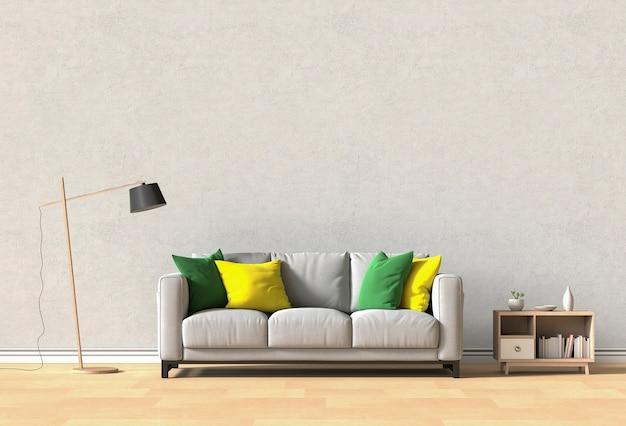 Diseño de interiores para sala de estar o recepción con sofá