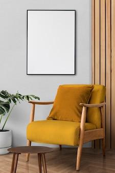Diseño de interiores de sala de estar retro con un sillón de mediados de siglo