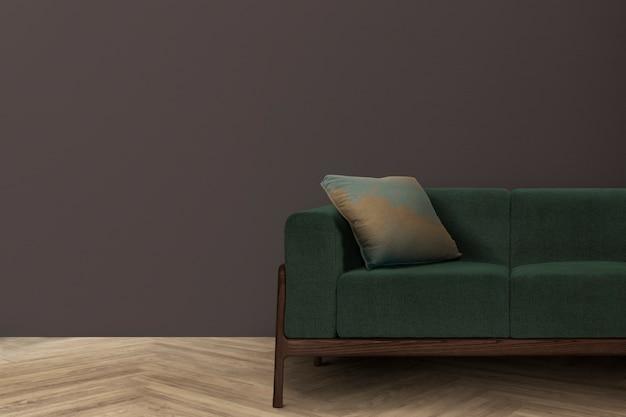 Diseño de interiores de sala de estar retro con sofá moderno de mediados de siglo