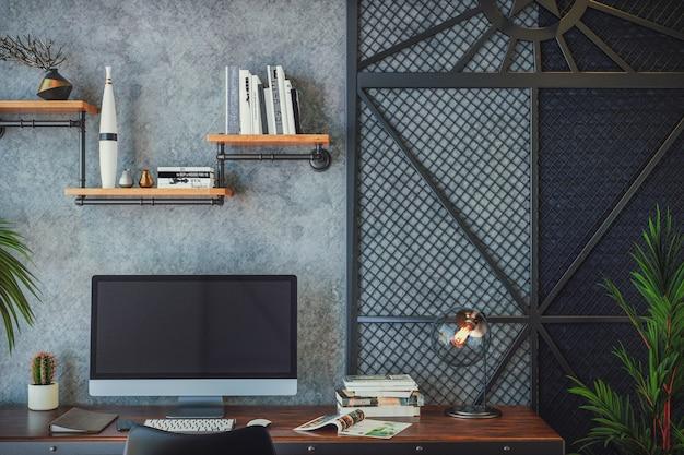 Diseño de interiores de sala de estar tipo loft con espacio de trabajo con computadora