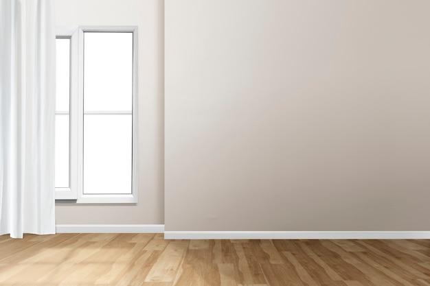 Diseño de interiores de sala de estar vacía con ventana y cortina blanca
