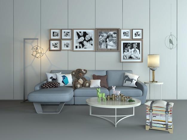 Diseño de interiores de sala de renderizado 3d