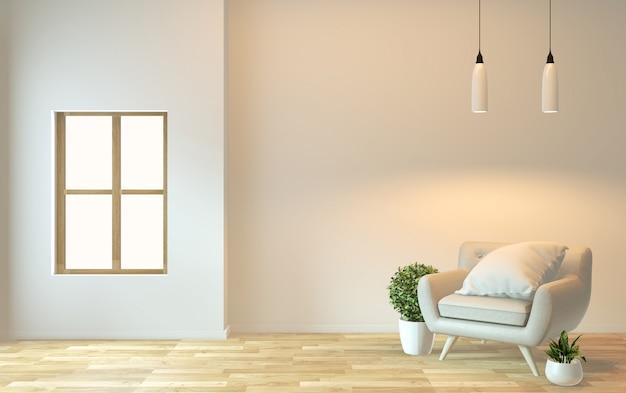 Diseño de interiores, vida moderna zen con sillón y decoración. representación 3d