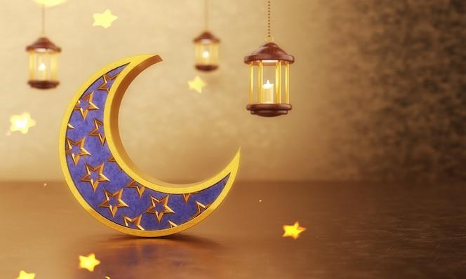 Diseño islámico de eid mubarak con luna creciente hueca con fondo dorado bokeh