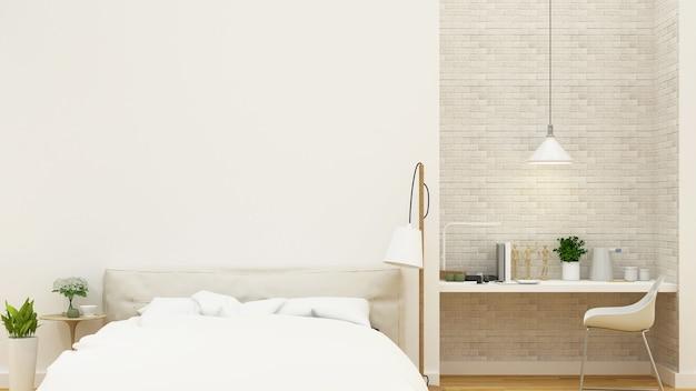 Diseño limpio de dormitorio y área de trabajo - representación 3d