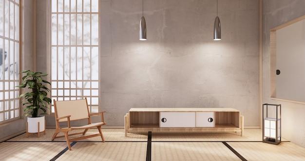 Diseño de madera del gabinete en el estilo moderno interior de la habitación blanca. representación 3d