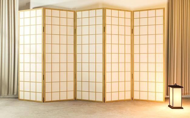 Diseño de madera de partición japonesa en el piso de tatami de la sala de estar.