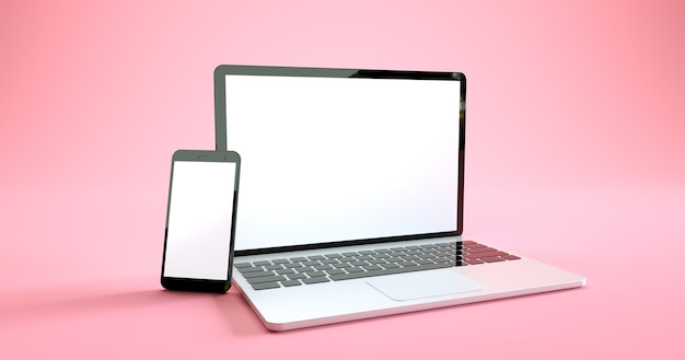 Diseño de maqueta de teléfono inteligente y computadora portátil de pantalla completa. conjunto de dispositivos digitales
