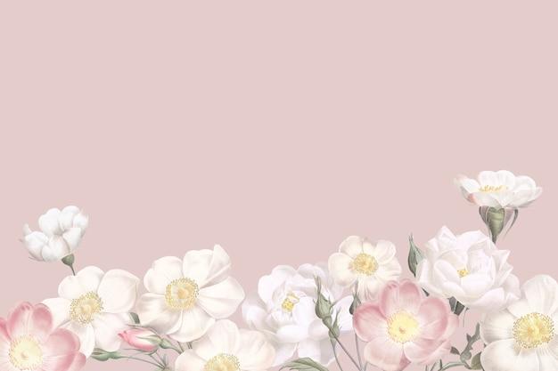 Diseño de marco floral elegante en blanco
