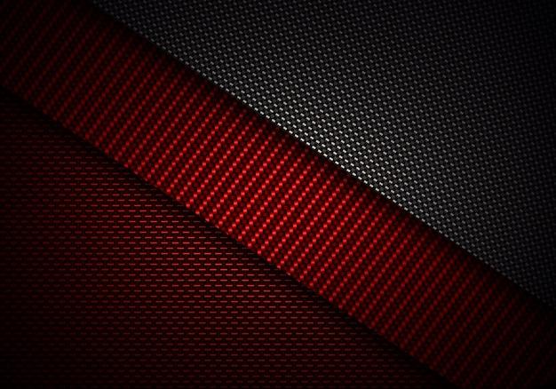 Diseño de material con textura de fibra de carbono negro rojo abstracto