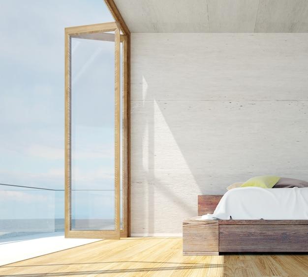 El diseño minimalista del dormitorio y la pared de hormigón y la vista al mar.