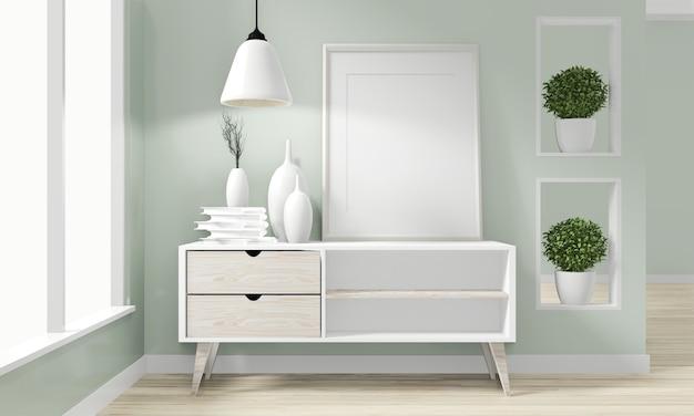 Diseño minimalista japonés de madera del gabinete en el diseño zen moderno de la sala representación 3d